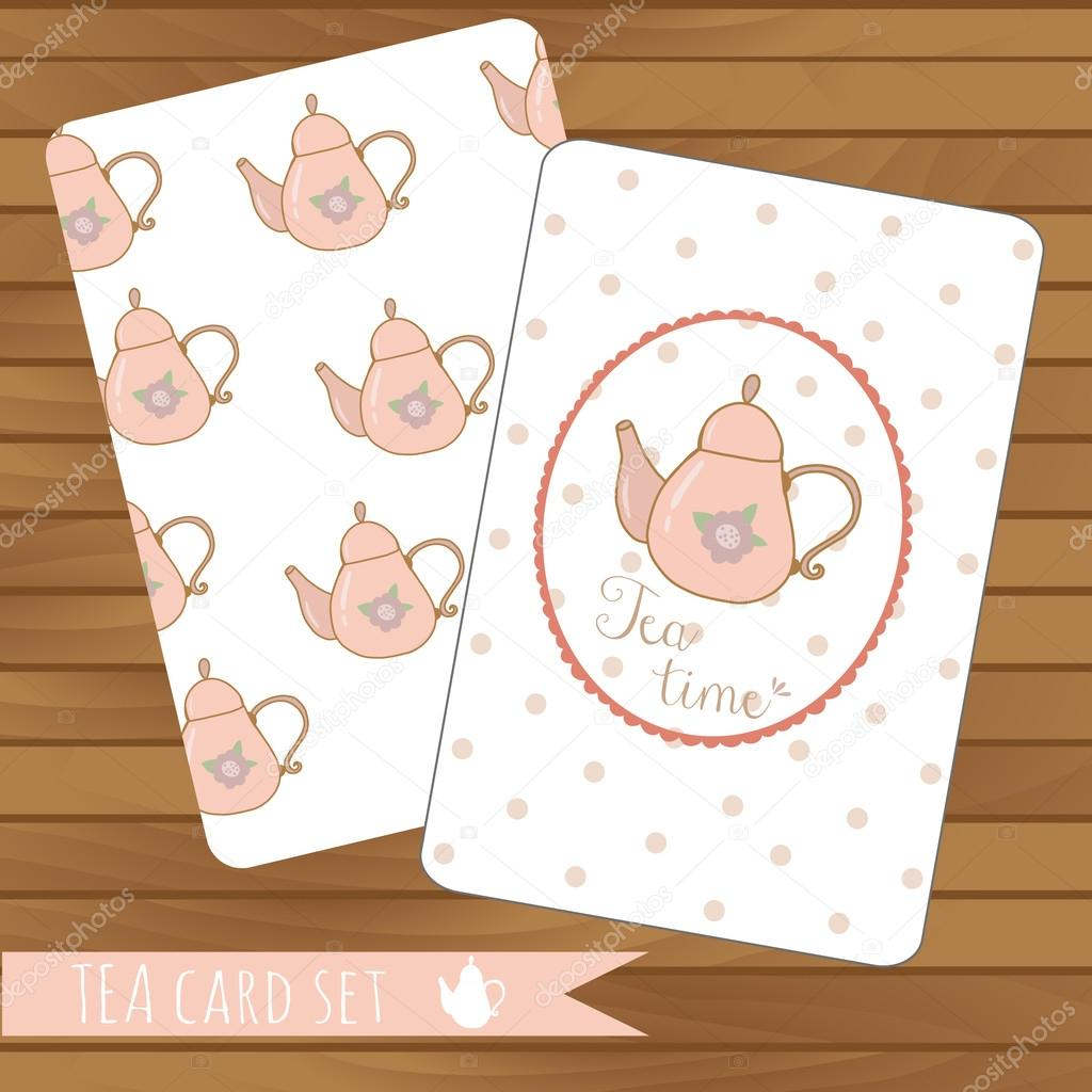 Teapot cards events, tea party, vector on wood background. Use for invitations.Place for text.  Teapot pattern
