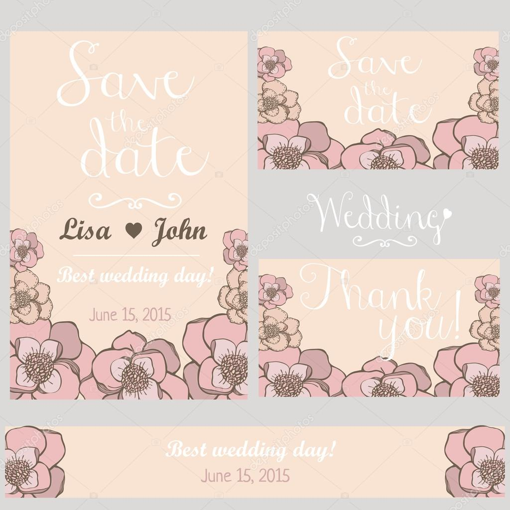Pastel flowers wedding invitation. Thank you card. Save the date card. Wedding set. Hand drawn design