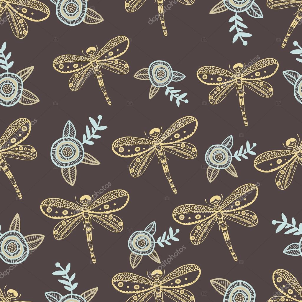 Vector la libélula y flores naturaleza de patrones sin fisuras ...