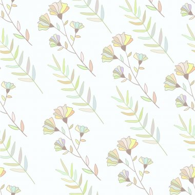Pastel colorful botanical seamless pattern. Hand drawn flowers and brunch illustration.