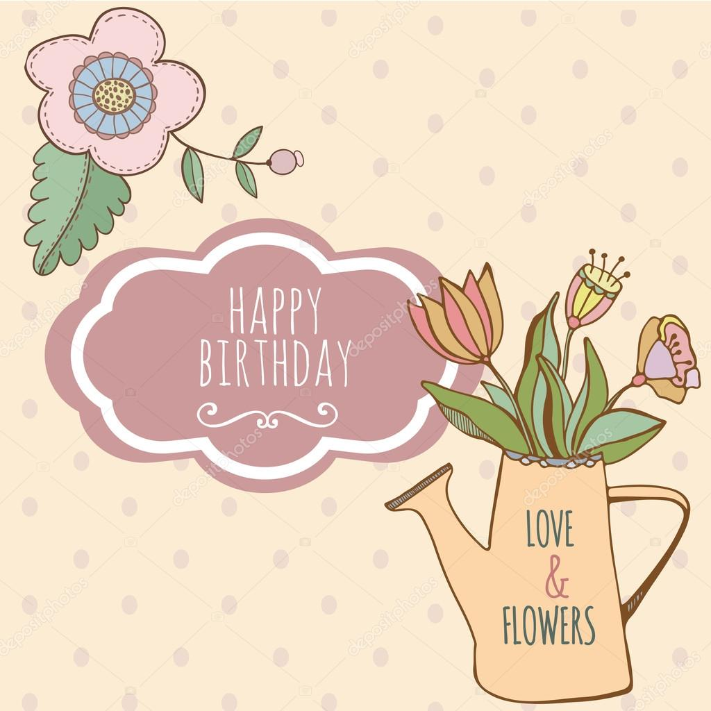 Watering can with hand drawn colorful flowers. Cute card happy birthday