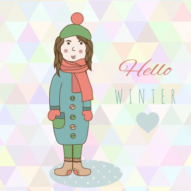 Catoon hand drawing girl in winter clothes look, shoe, mitten and jacket winter style