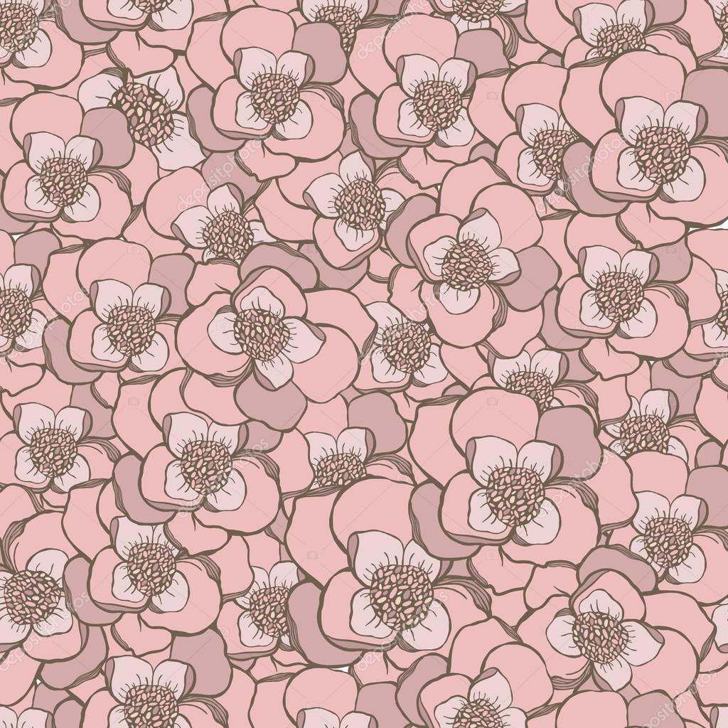 Pastel hand drawing pink  flowers seamless pattern.