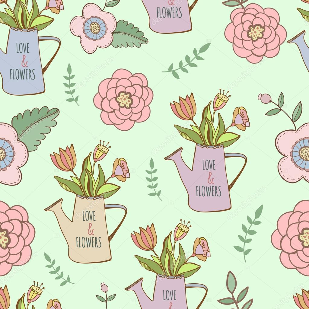 watering cans seamless pattern with cute hand drawn flower