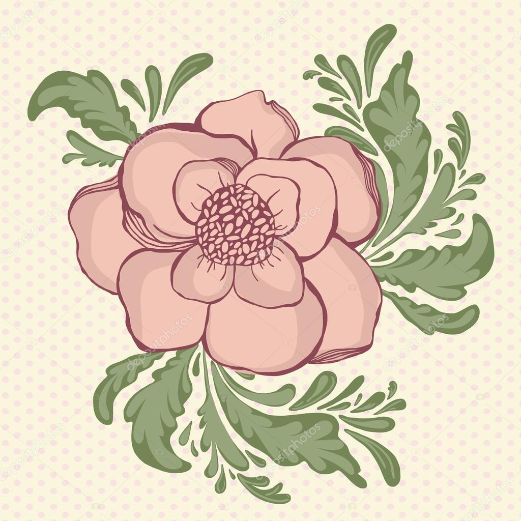 Dibujos Flores En Color Mano Dibujo Flores Color Pastel En Telón
