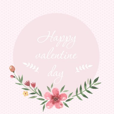 Pastel hand drawn watercolor happy valentine day card romantic style. With watercolor tender flower