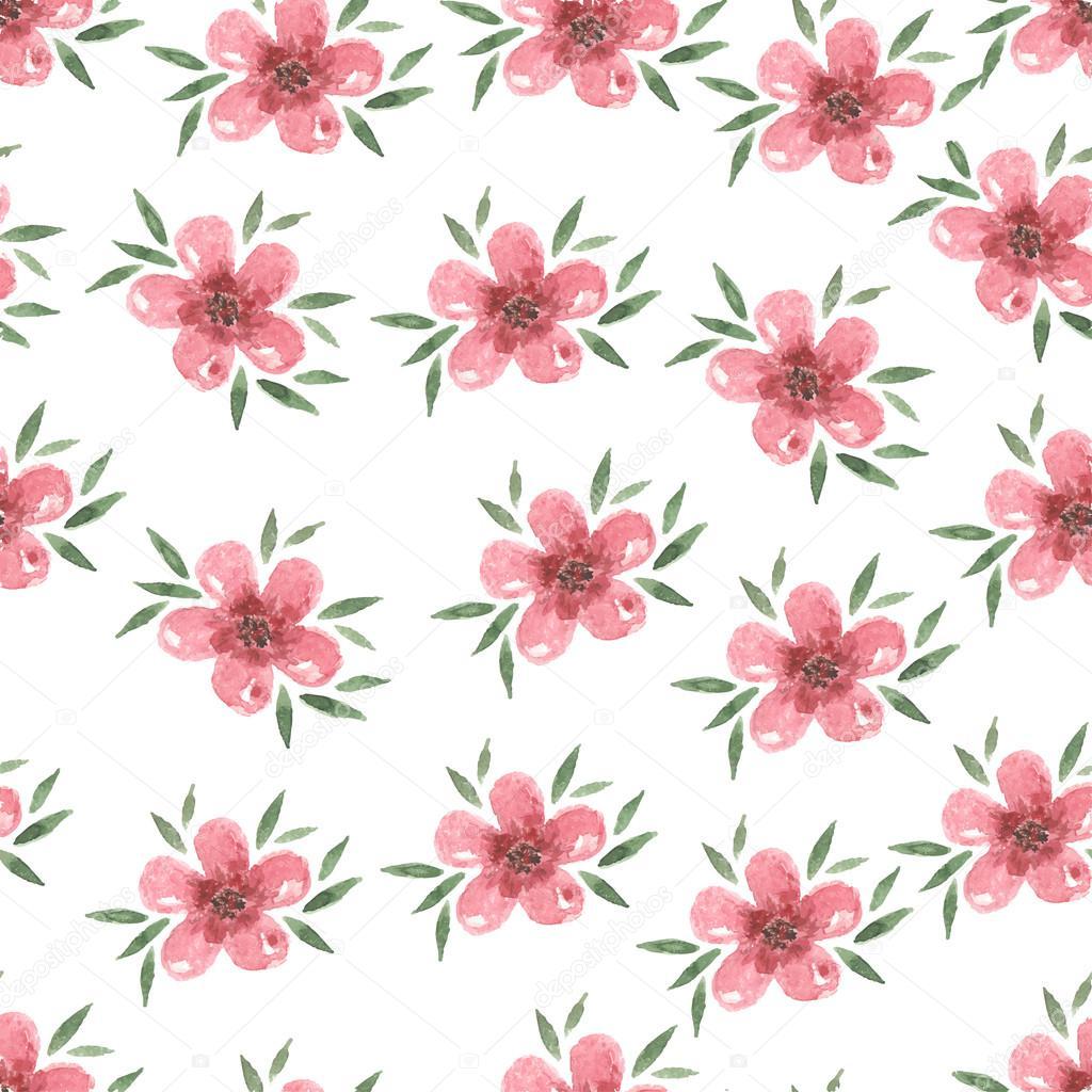 Mano acuarela pastel flor rosa dibujado de patrones sin fisuras ...