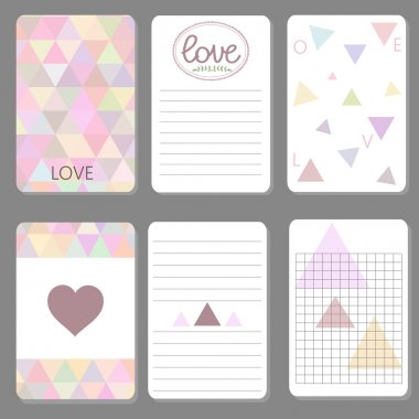 Printable cute design cards triangle and geometriz ctyle