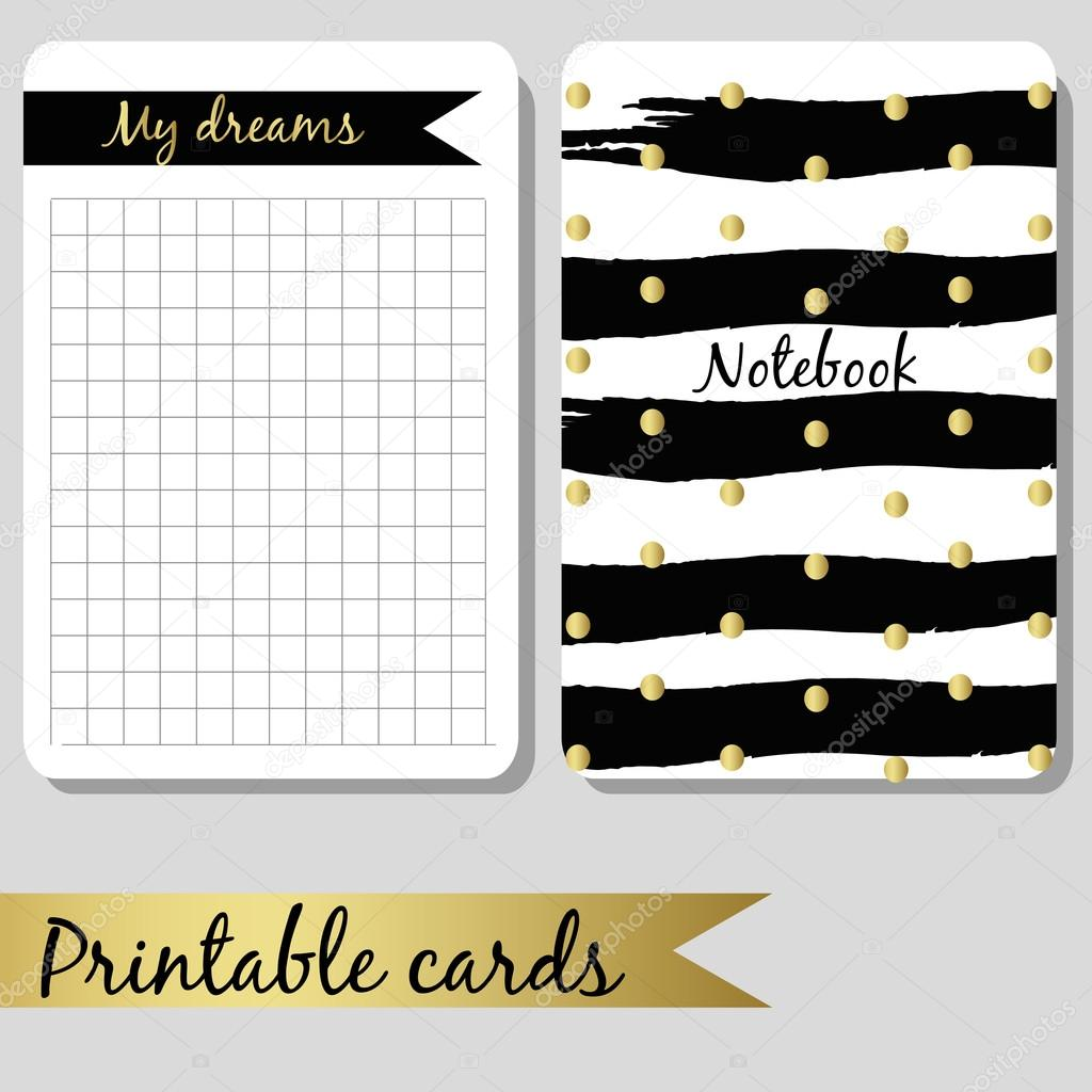 Printable cards for notes, design notebook black and gold color, brush stroke hand drawn
