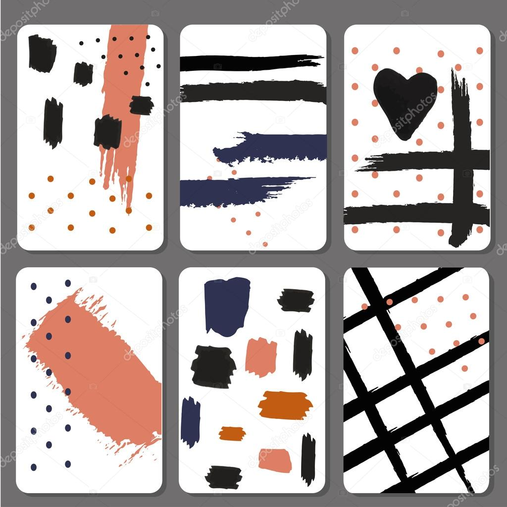 Set 6 printable cards with black brush stroke design graphic stylish hand drawing