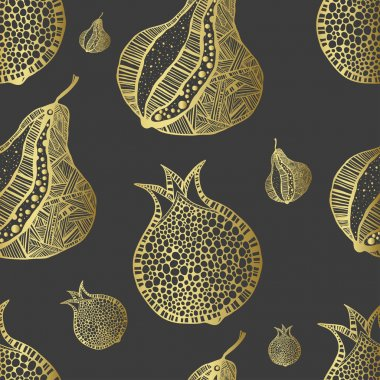 Stylush seamless pattern with pomegranate and pear. Black and gold