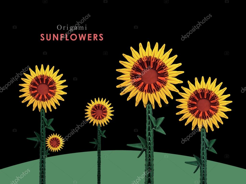 Origami Sunflowers Field Stock Photo Mandrixta 101347700