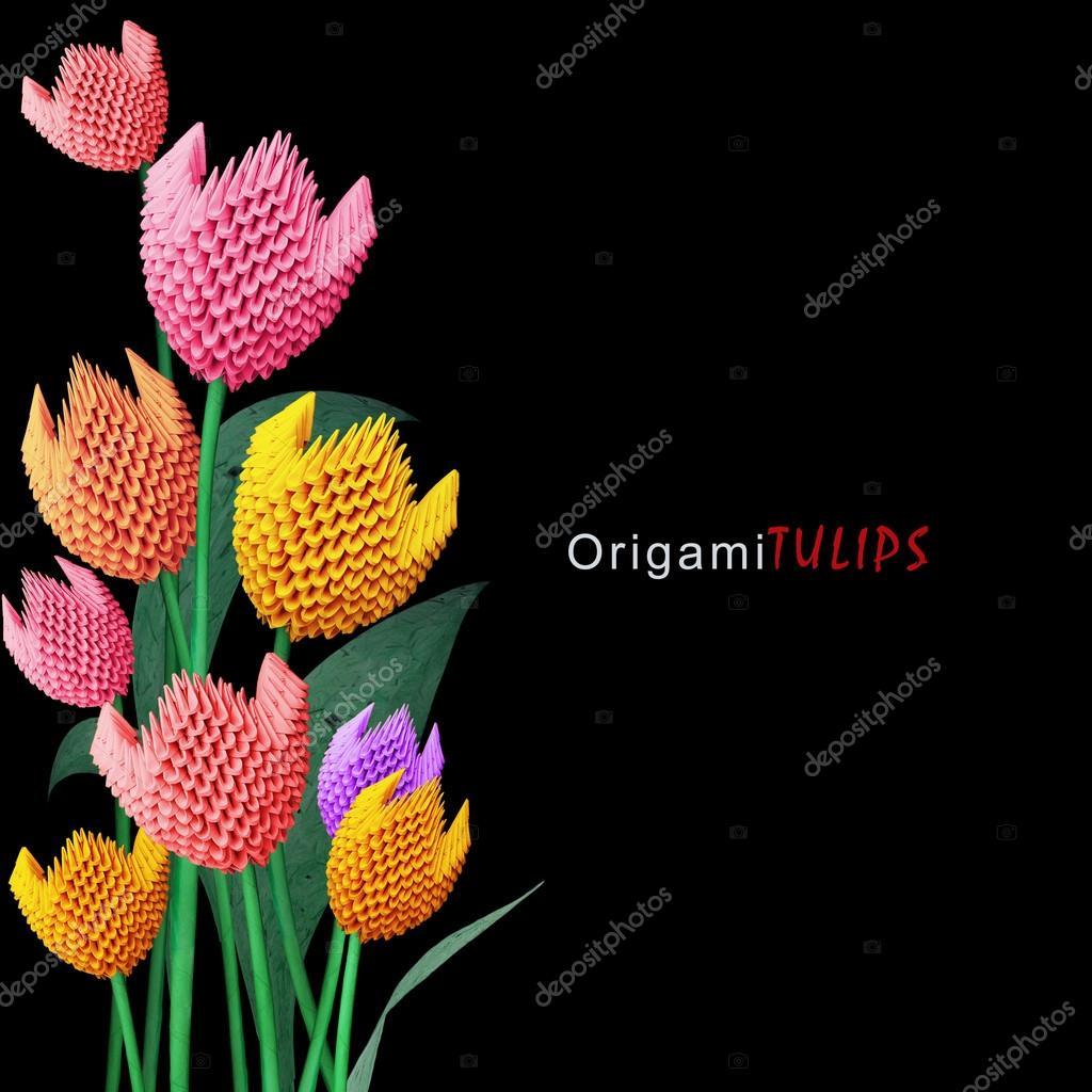Origami Tulip Bouquet Stock Photo