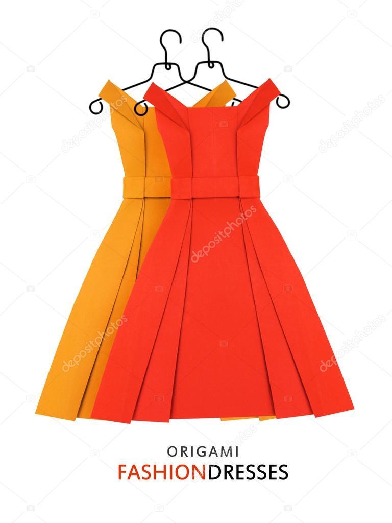 Origami-Papier, gelbe und rote Kleider — Stockfoto © mandrixta ...