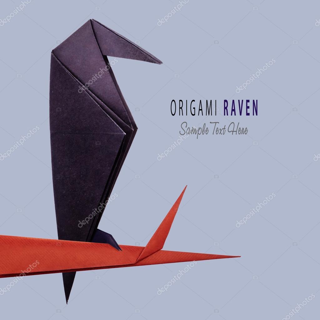 Origami Paper Halloween Raven Stock Photo