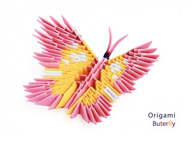 Pink origami butterfly