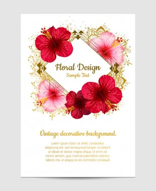 vector hibiscus flower. invitation card.