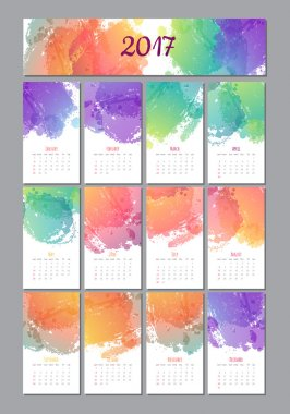 vector calendar with brush stain. 2017