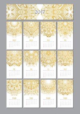 vector mandala calendar 2017