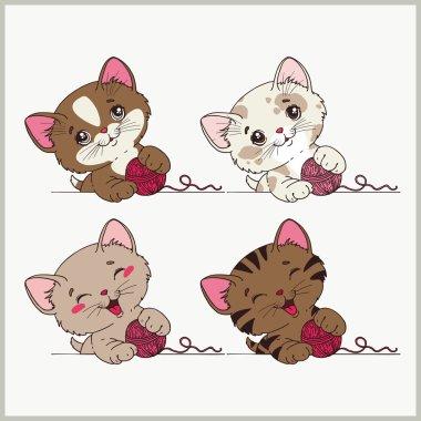 set of funny kittens.