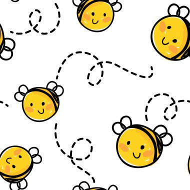 bees seamless pattern