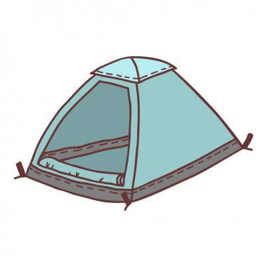 Hand drawn tent, sketch colored vector illustration. Camping separate icon, colorful doodle image. Element for using in design, packing, textile, logo. icon