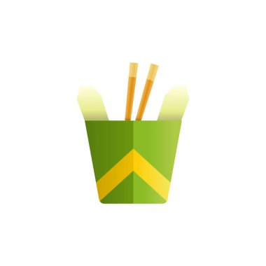 Noodles in a box colored cartoon style vector icon. Tasty wok fried fast food unhealthy meal. Isolated dishes on white background. icon