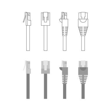 Vector set of ethernet connectors