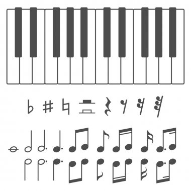 Piano keys and notes vector illustration