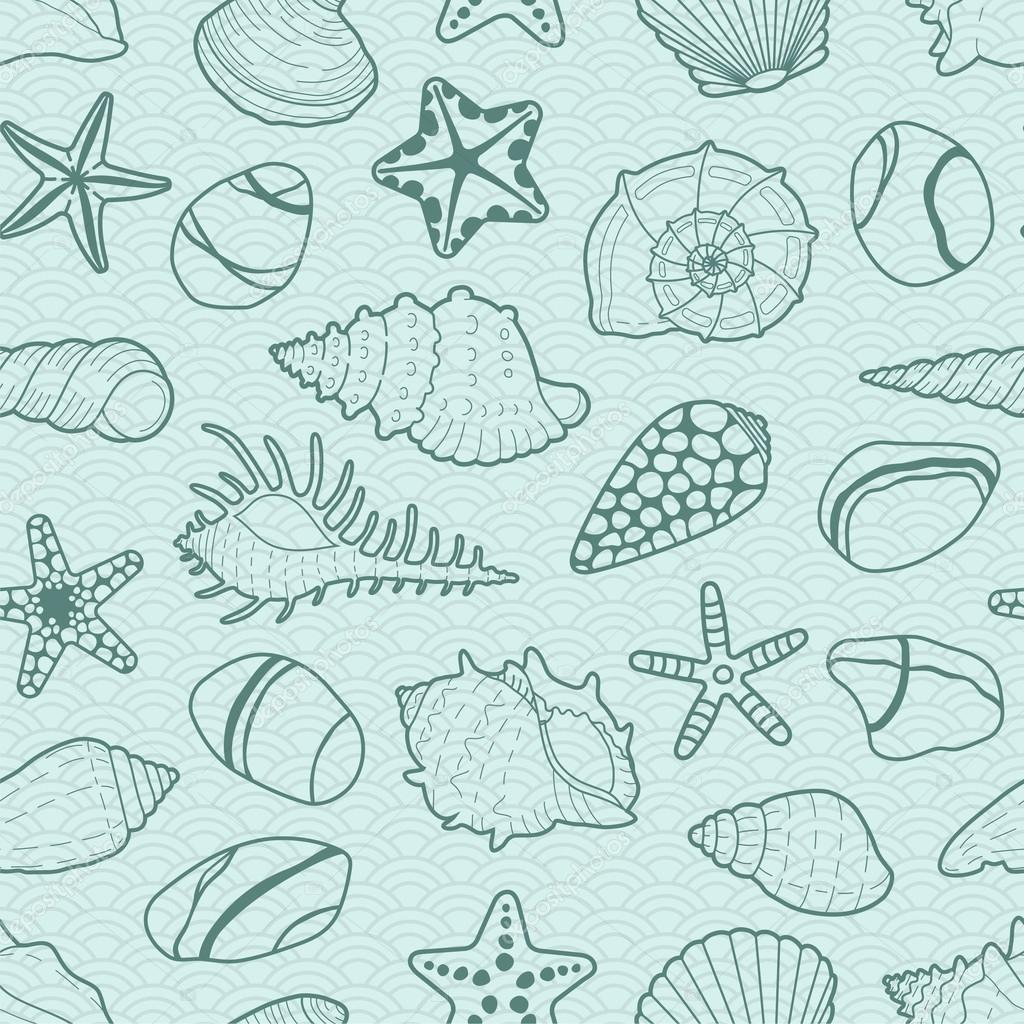 Vector background with sea shells, stars, stones