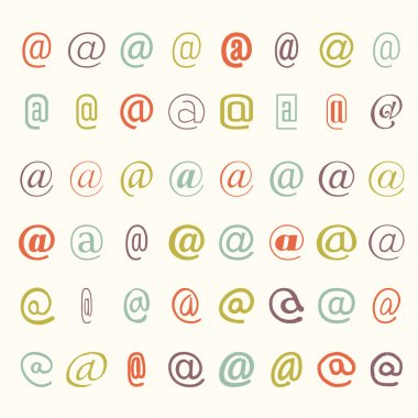 Vector icon set of colored mail dogs