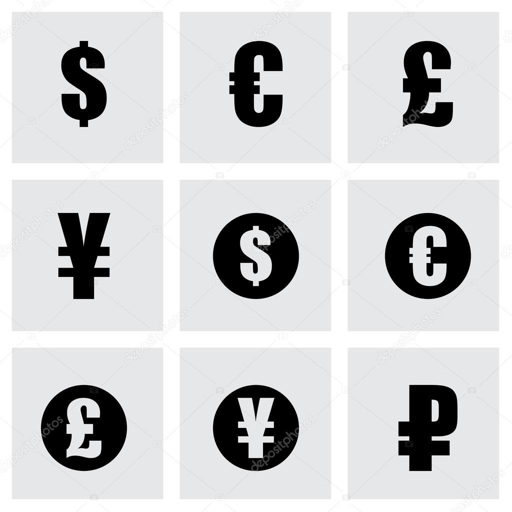 Vector black currency symbols icons set stock vector annexs vector black currency symbols icons set stock vector biocorpaavc Choice Image