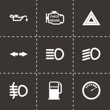 Vector black car dashboard icon set