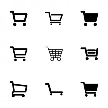 Vector shopping cart icon set on white background stock vector