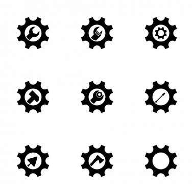 Vector tools in gear icon set