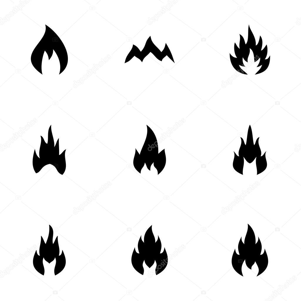 Vektör siyah ateş Icon set — Stok Vektör © annexs #72363475