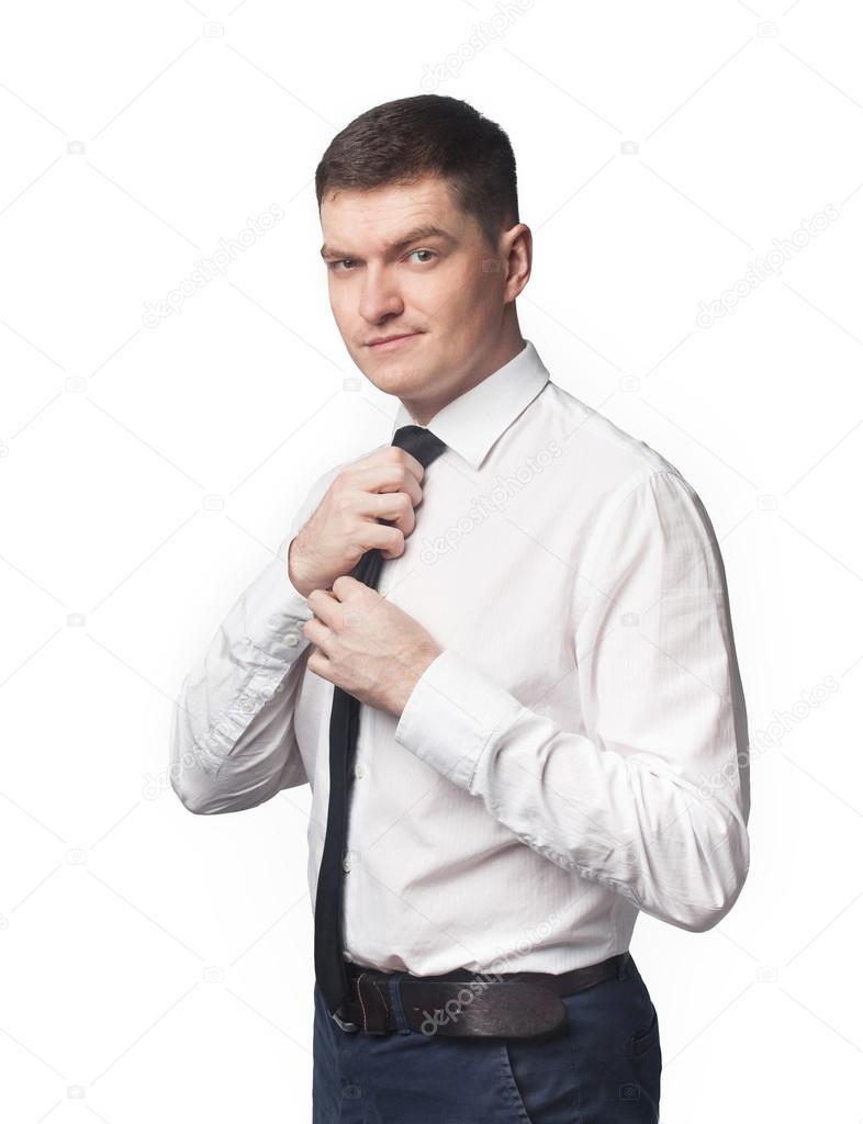 arrives c3b85 07188 Uomo in camicia bianca e cravatta nera di fissaggio e ...