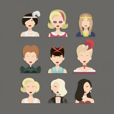 Vector illustration of young beautiful women icons from different times