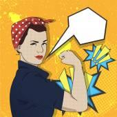 Frau arbeitet. schöne Pin-up-Mädchen, Pop-Art-Retro-Comics Vektor Illustration.