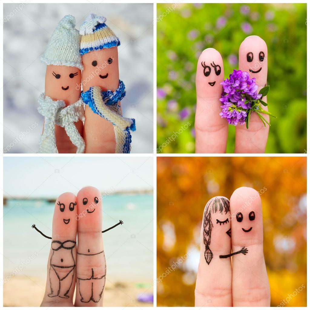 Finger art of a Happy couple. Four Seasons: winter, spring, summer, autumn.