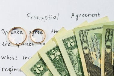 Two wedding rings and dollars on the background of the marriage contract