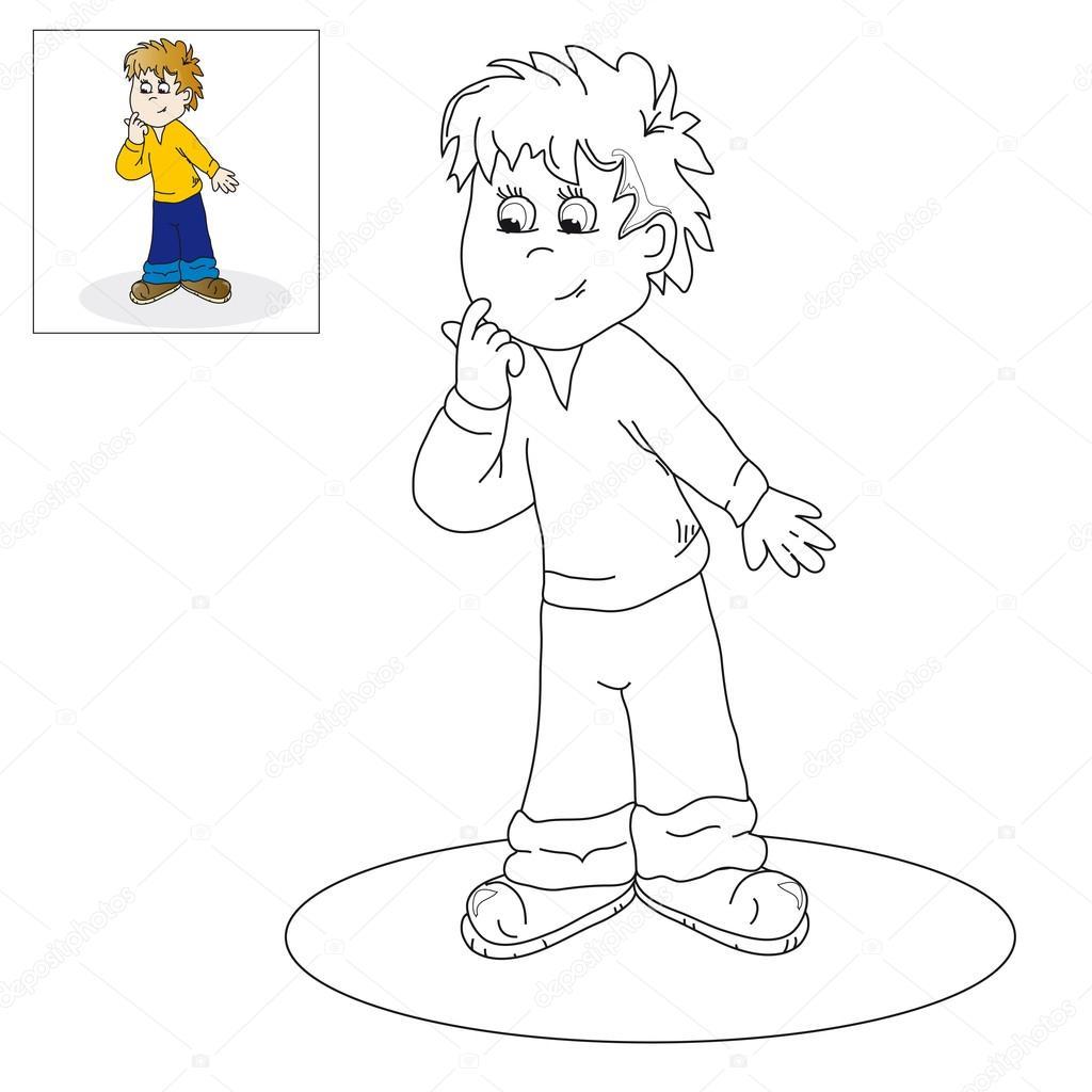 Imagen para colorear - muchacho pensativo — Vector de stock © Ozii45 ...
