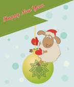 Photo Funny New Year sheep on a chtisrmas ball - Greeting card