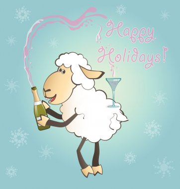 Funny New Year sheep with champagne
