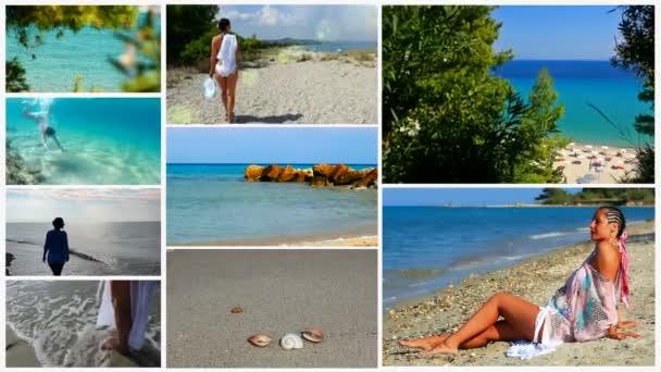 Nyári turisztikai célpont, és a nyaralás a tengeren - osztott képernyő
