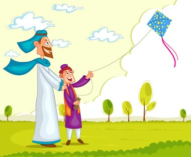 Muslim boy flying kite with parent