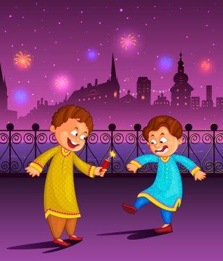 Kids enjoying firecracker celebrating Diwali in vector stock vector