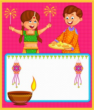 Kids enjoying firecracker celebrating Diwali