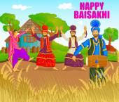 Fotografie Sikh Bhangra, Volkstanz von Punjab, Indien für Happy Baisakh zu tun