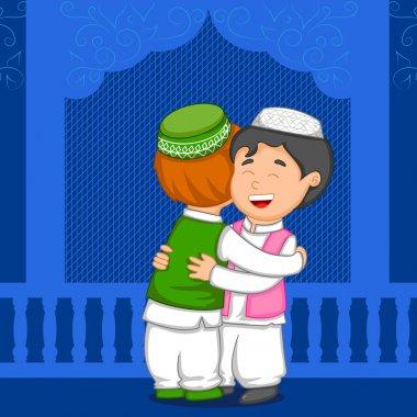 Muslim people hugging and wishing Eid